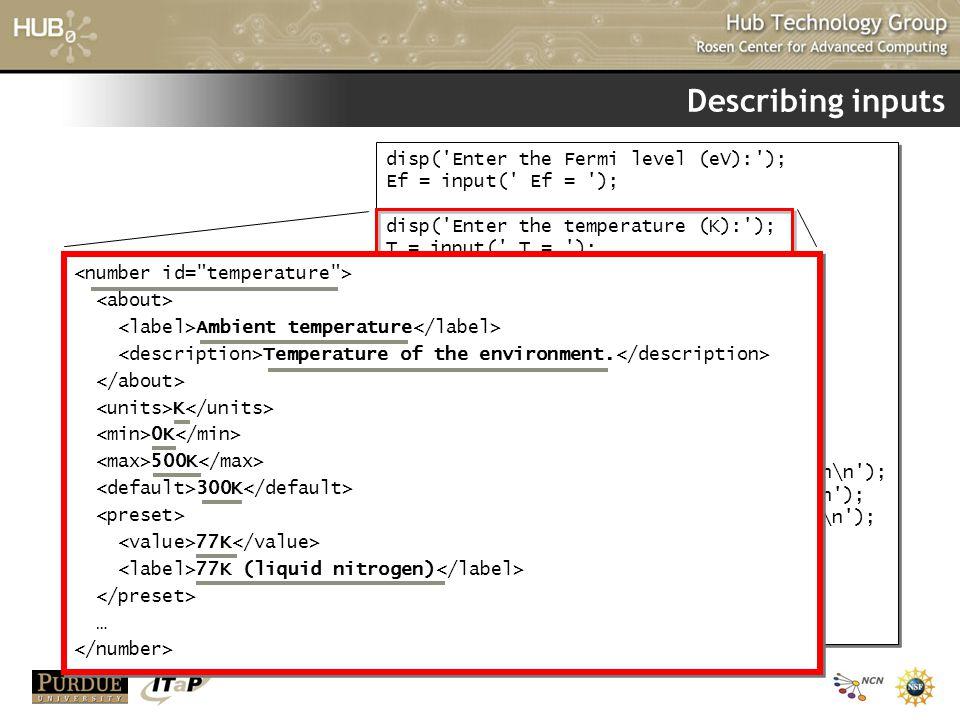 Describing inputs disp( Enter the Fermi level (eV): );