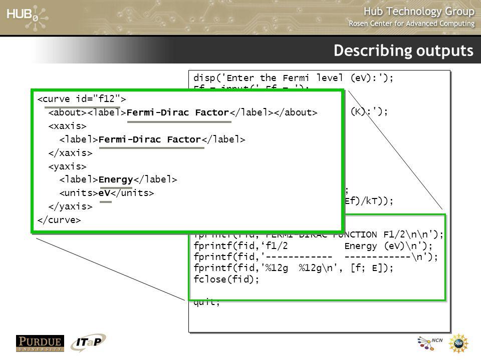 Describing outputs disp( Enter the Fermi level (eV): );