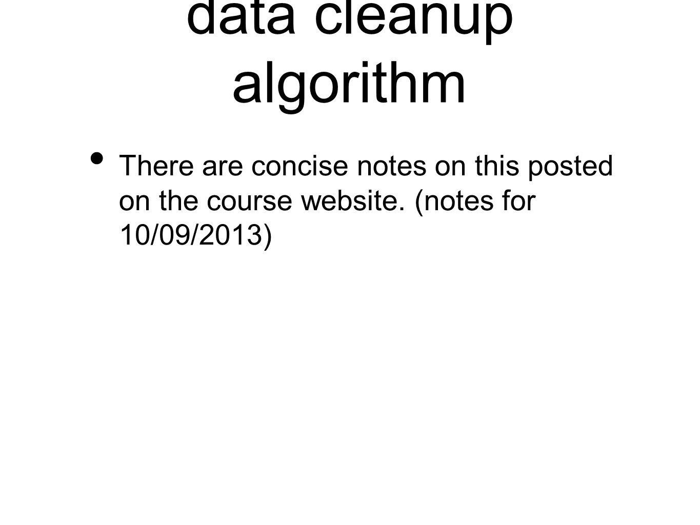 data cleanup algorithm