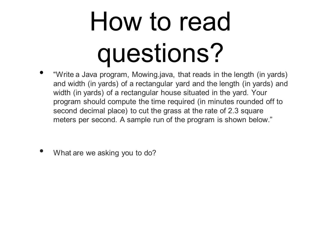 How to read questions