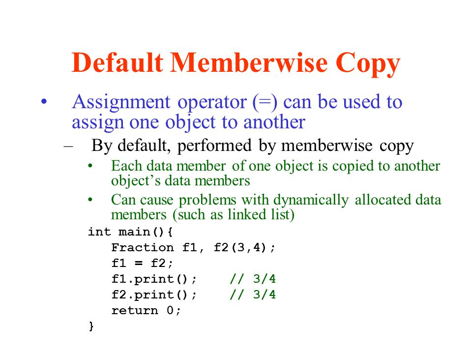 Default Memberwise Copy