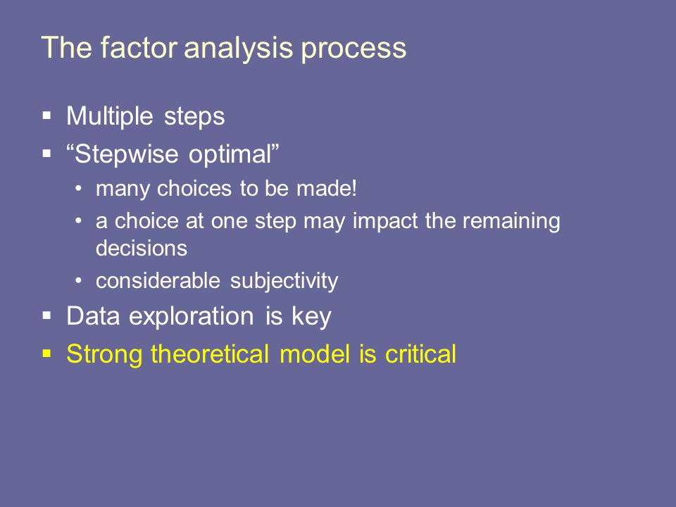 The factor analysis process