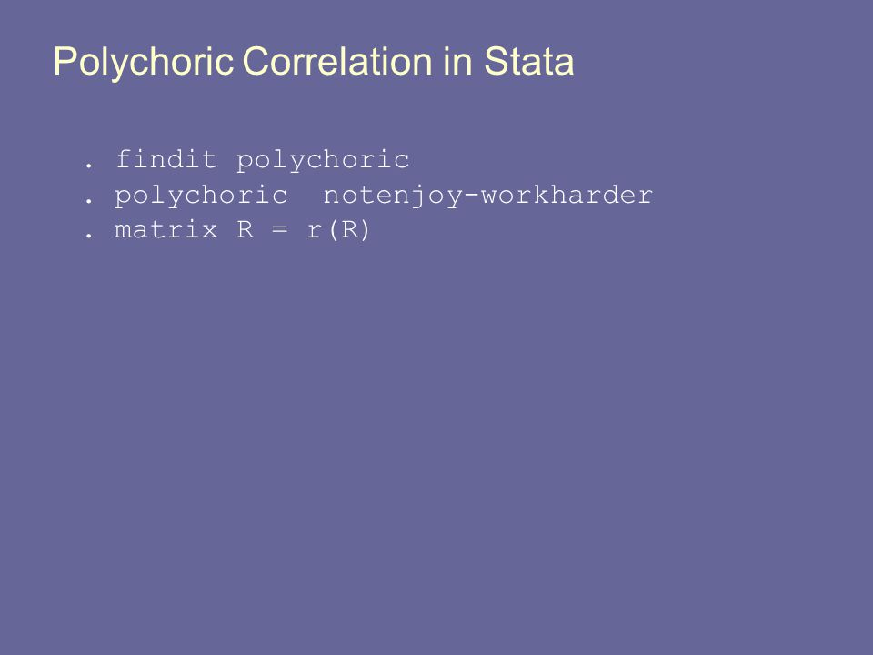 Polychoric Correlation in Stata