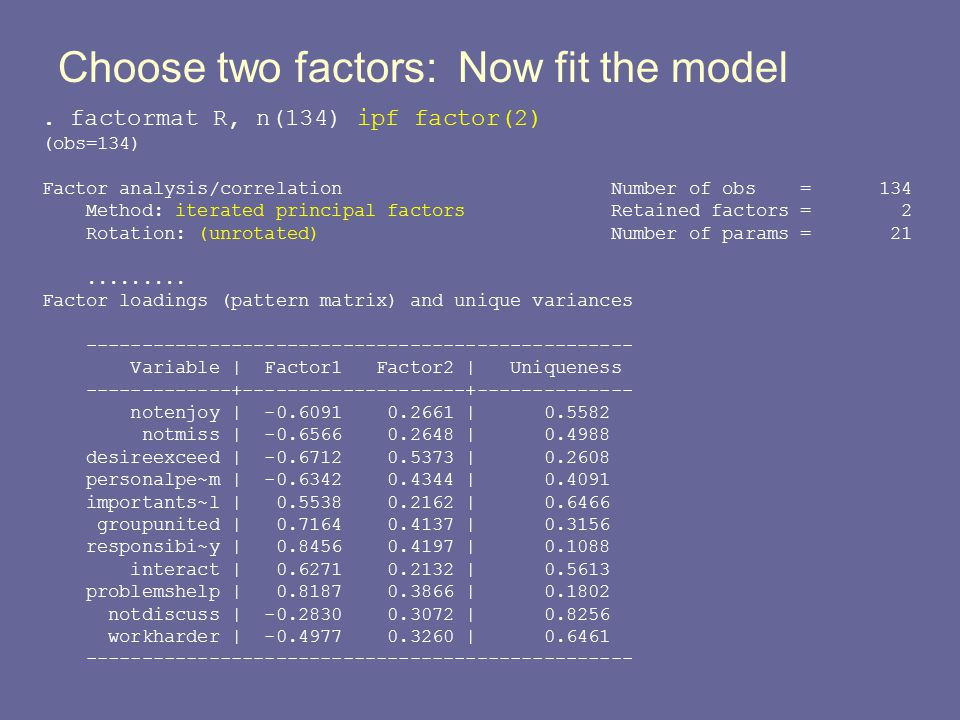 Choose two factors: Now fit the model