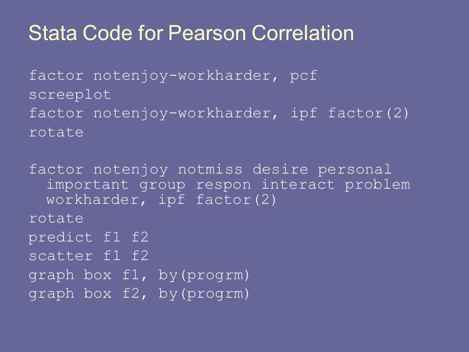 Stata Code for Pearson Correlation