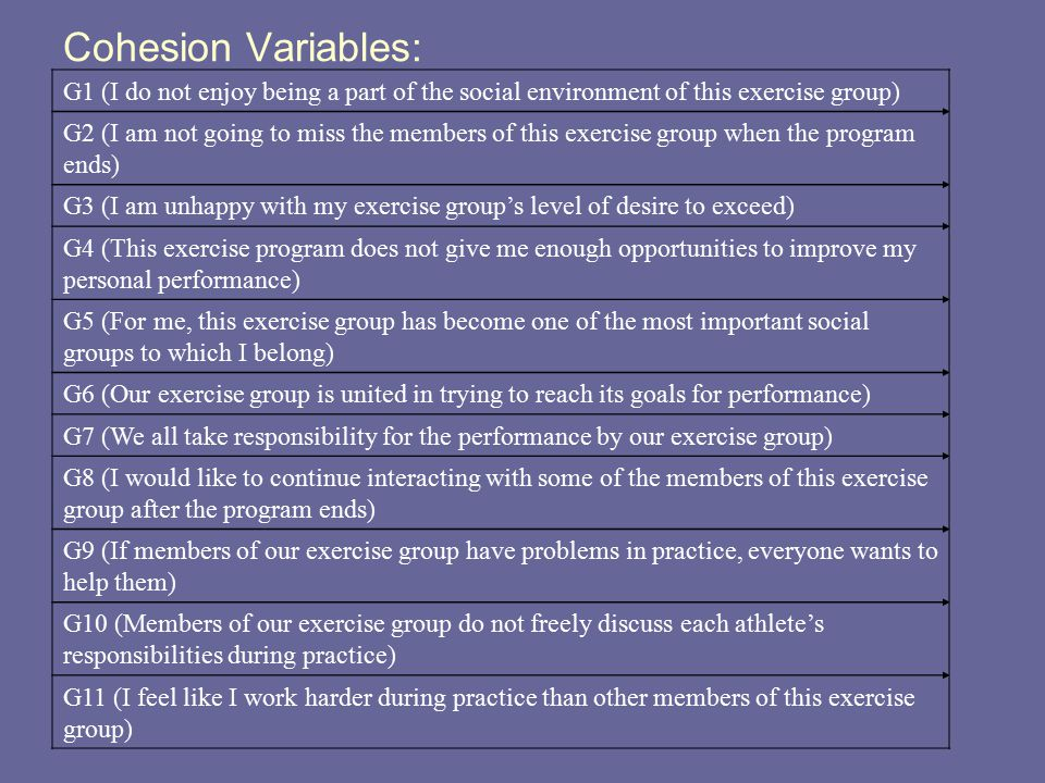 Cohesion Variables: G1 (I do not enjoy being a part of the social environment of this exercise group)