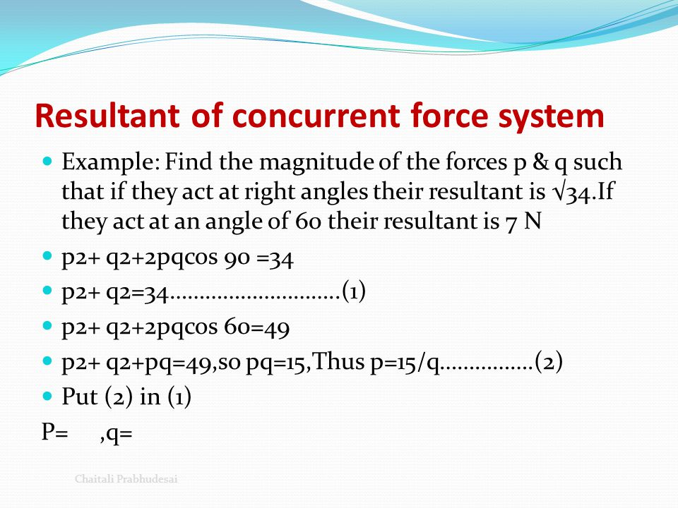 Resultant of concurrent force system