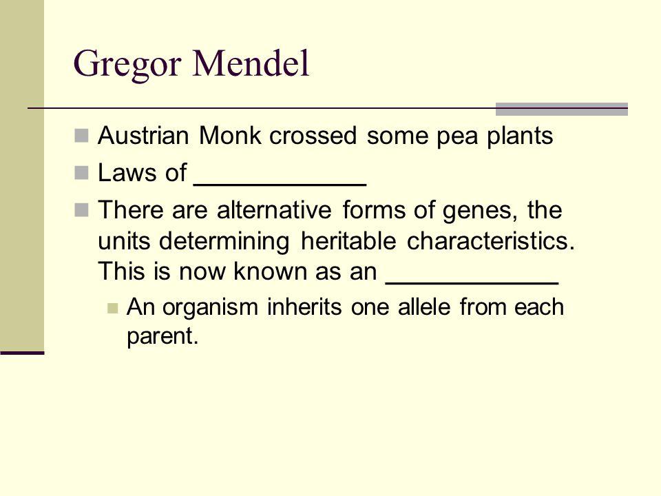 Gregor Mendel Austrian Monk crossed some pea plants