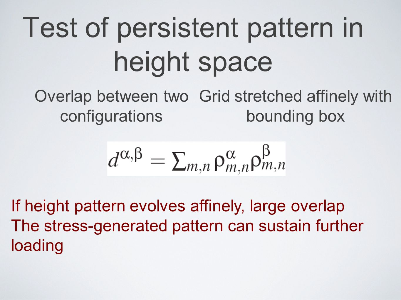 Test of persistent pattern in height space