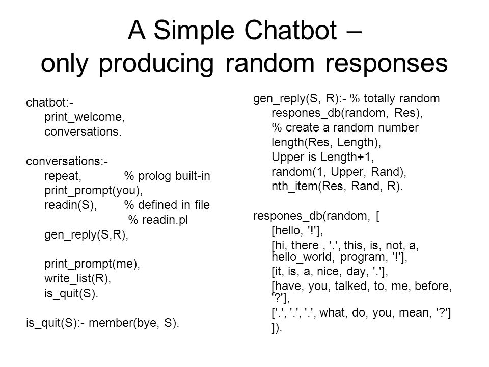 A Simple Chatbot – only producing random responses