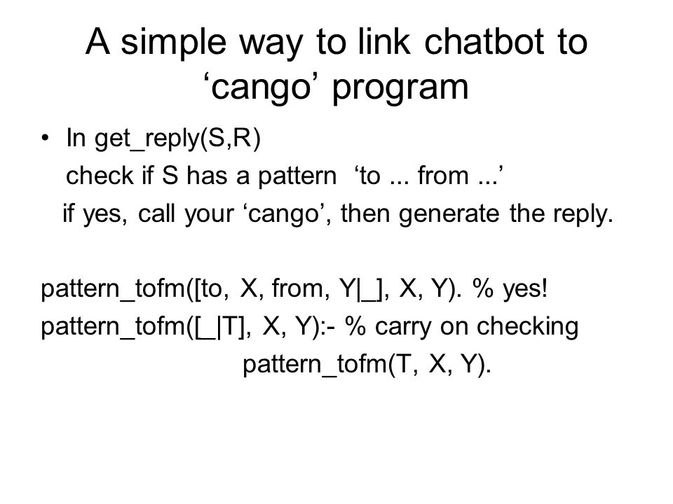 A simple way to link chatbot to 'cango' program