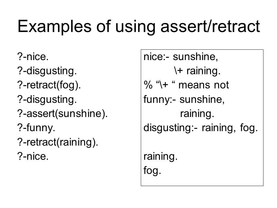 Examples of using assert/retract