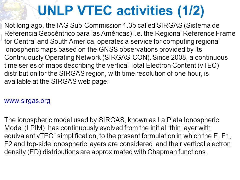 UNLP VTEC activities (1/2)