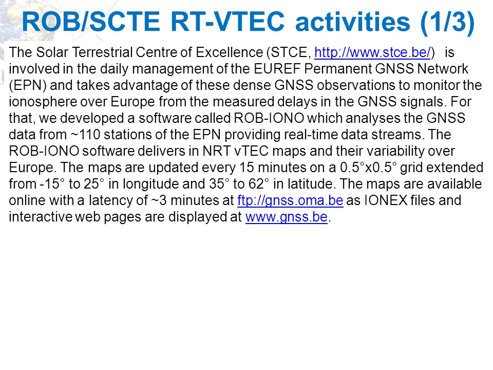 ROB/SCTE RT-VTEC activities (1/3)