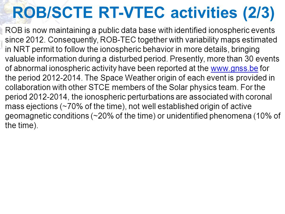 ROB/SCTE RT-VTEC activities (2/3)