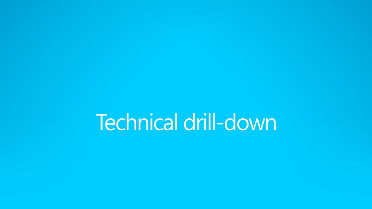 Technical drill-down