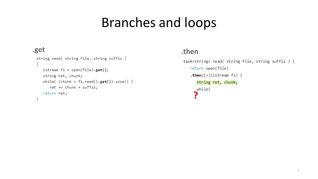 Branches and loops .get .then