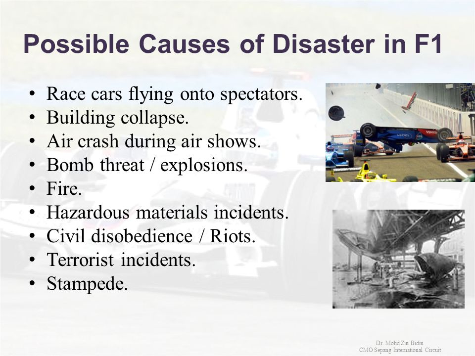 Possible Causes of Disaster in F1
