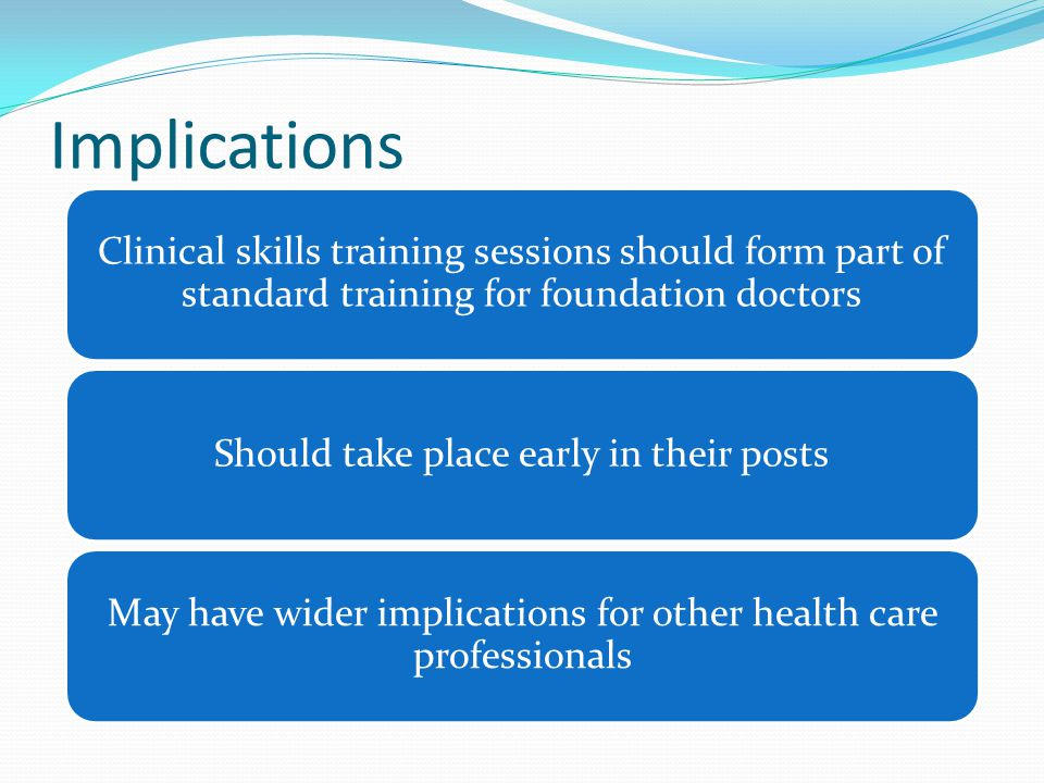 Implications Clinical skills training sessions should form part of standard training for foundation doctors.