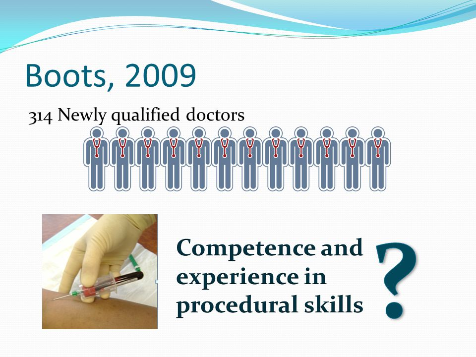Boots, 2009 Competence and experience in procedural skills