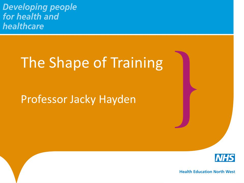 The Shape of Training Professor Jacky Hayden
