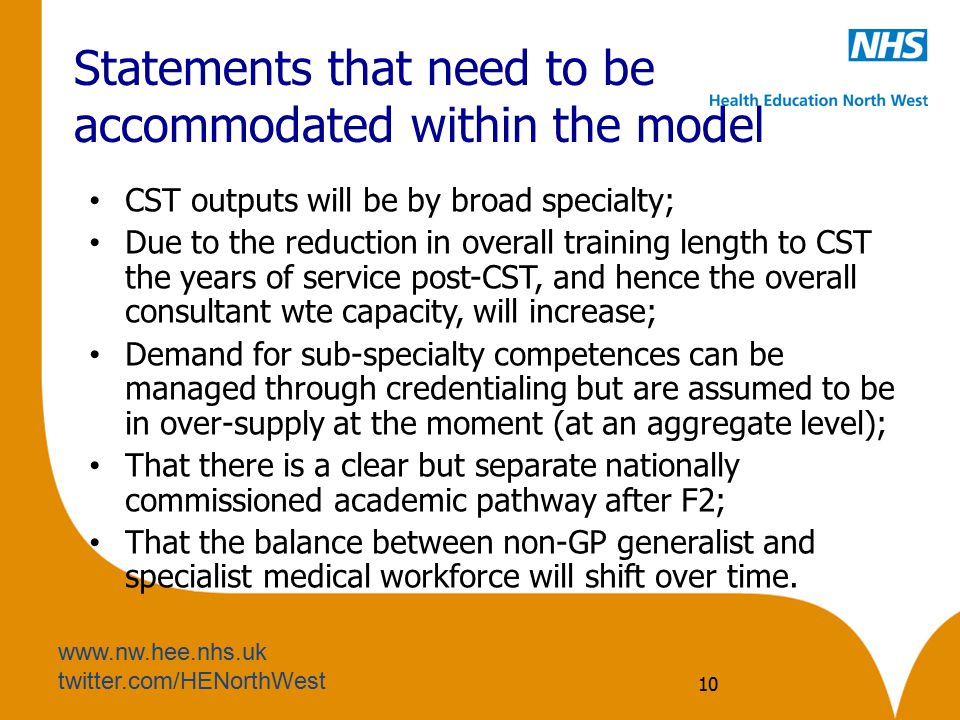 Statements that need to be accommodated within the model