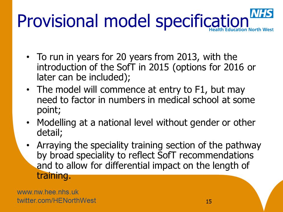 Provisional model specification