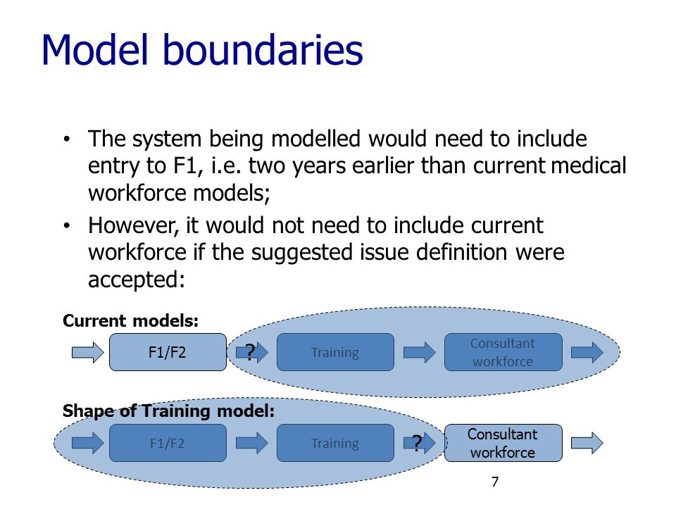 Model boundaries The system being modelled would need to include entry to F1, i.e. two years earlier than current medical workforce models;