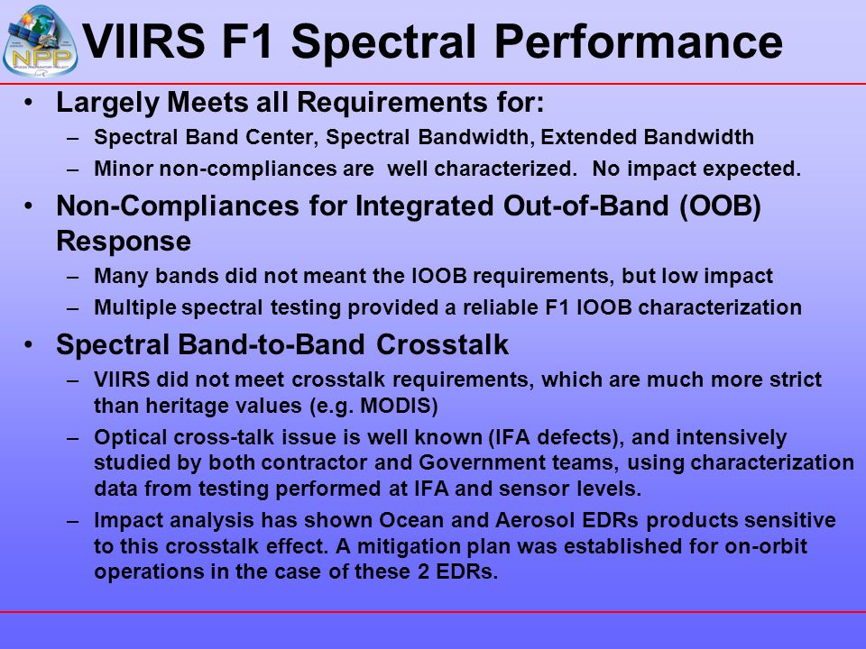 VIIRS F1 Spectral Performance