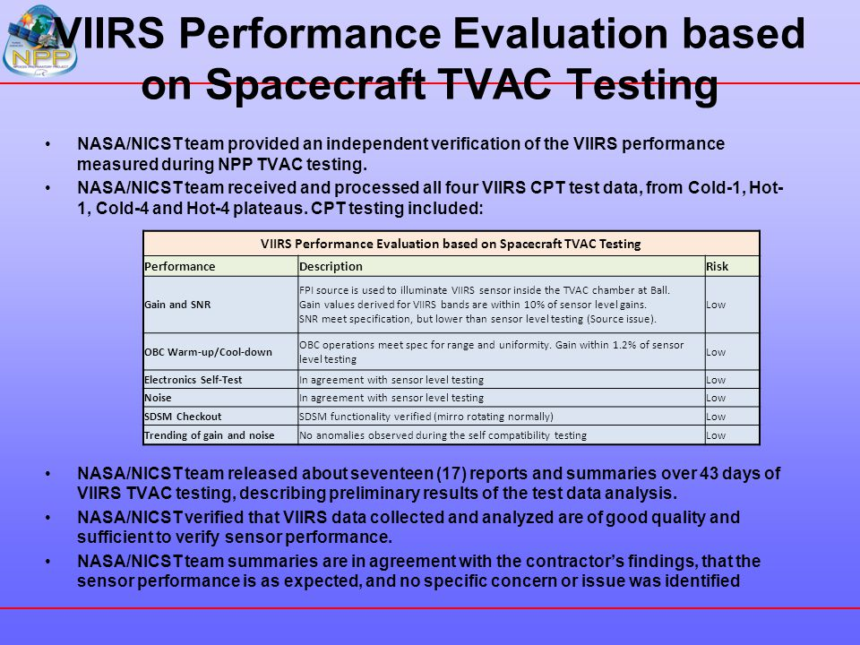VIIRS Performance Evaluation based on Spacecraft TVAC Testing