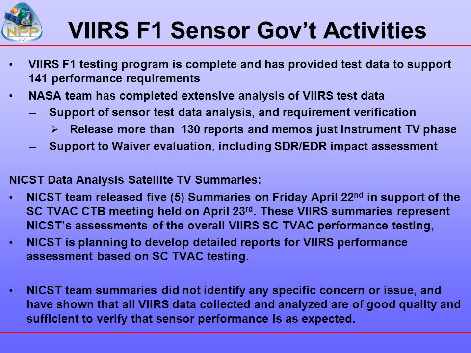 VIIRS F1 Sensor Gov't Activities
