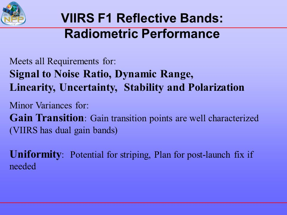 VIIRS F1 Reflective Bands: Radiometric Performance