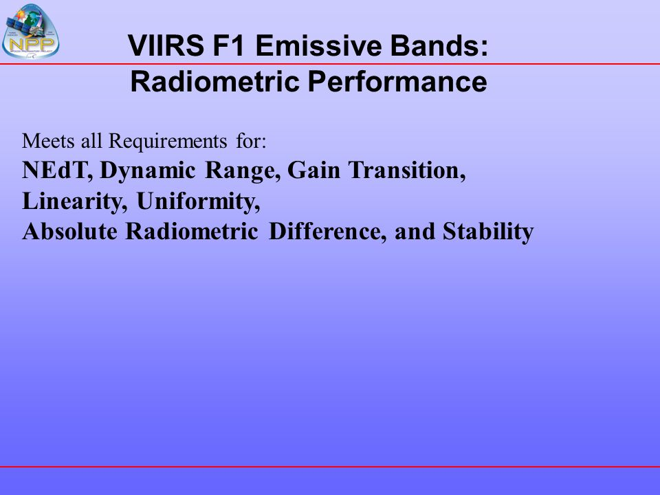 VIIRS F1 Emissive Bands: Radiometric Performance