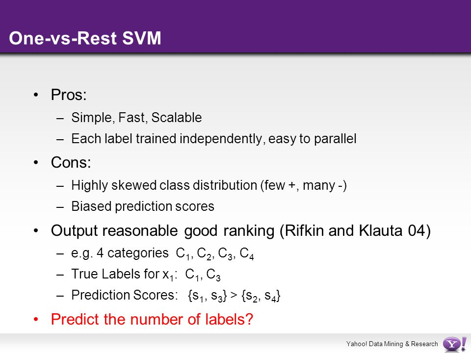 One-vs-Rest SVM Pros: Cons: