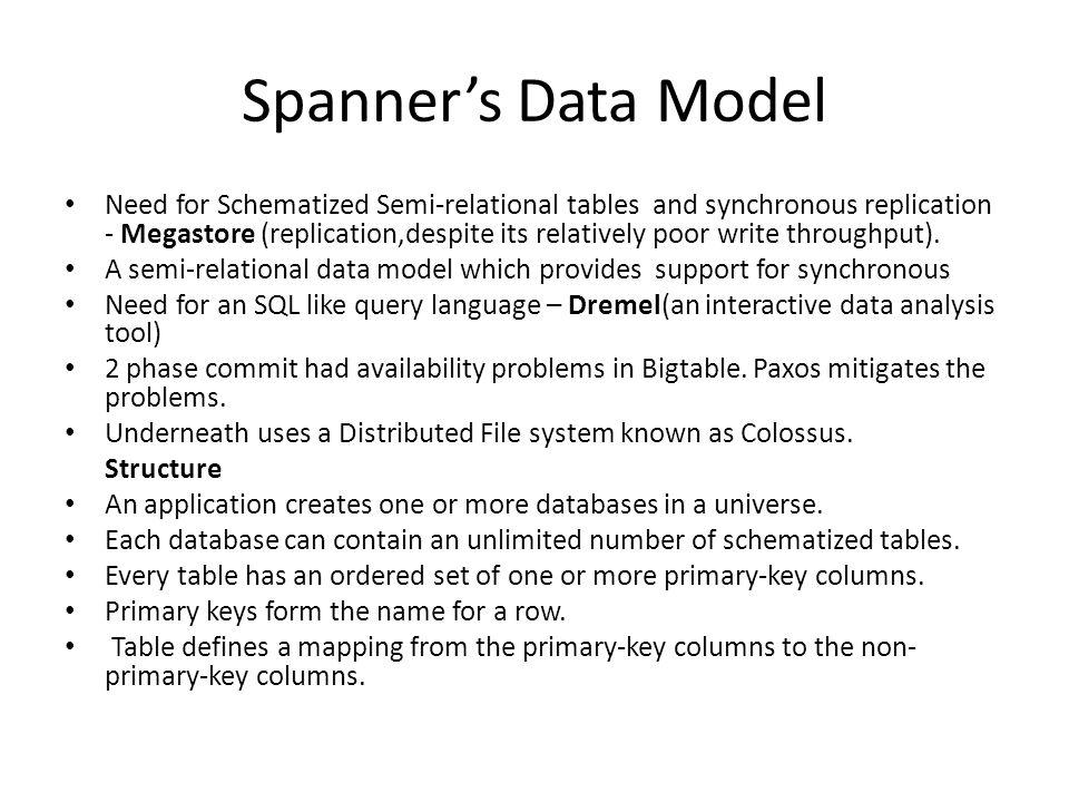 Spanner's Data Model