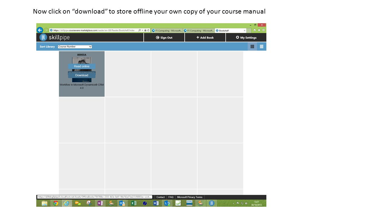 Now click on download to store offline your own copy of your course manual