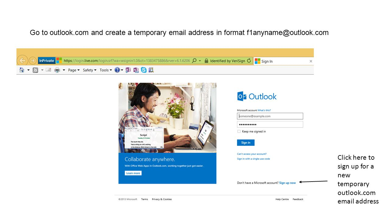 Go to outlook.com and create a temporary email address in format f1anyname@outlook.com