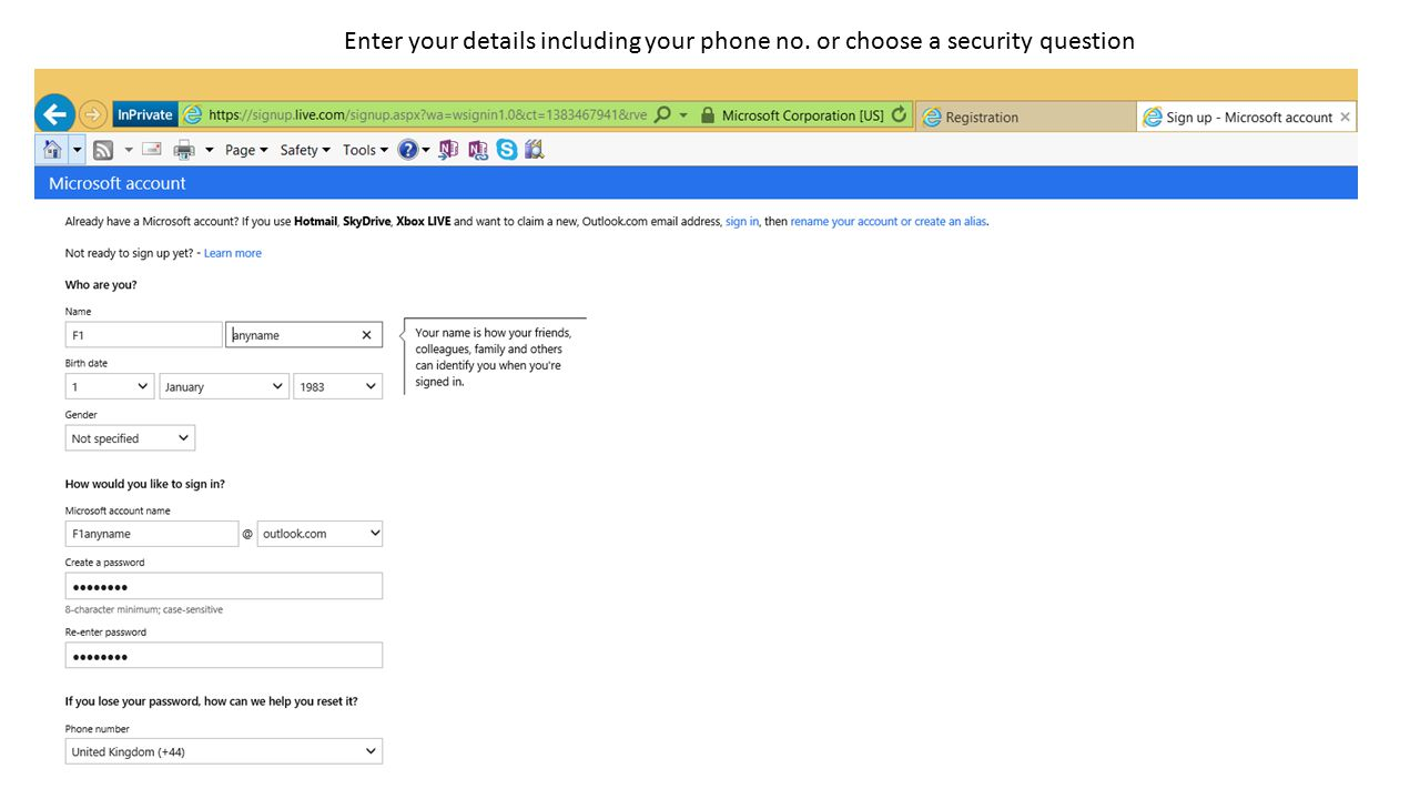 Enter your details including your phone no. or choose a security question