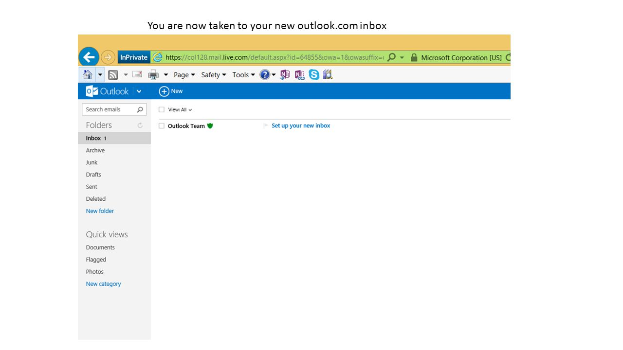 You are now taken to your new outlook.com inbox