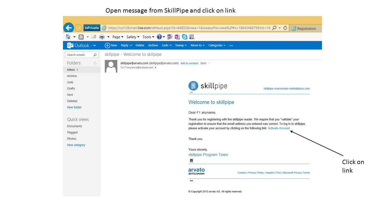 Open message from SkillPipe and click on link