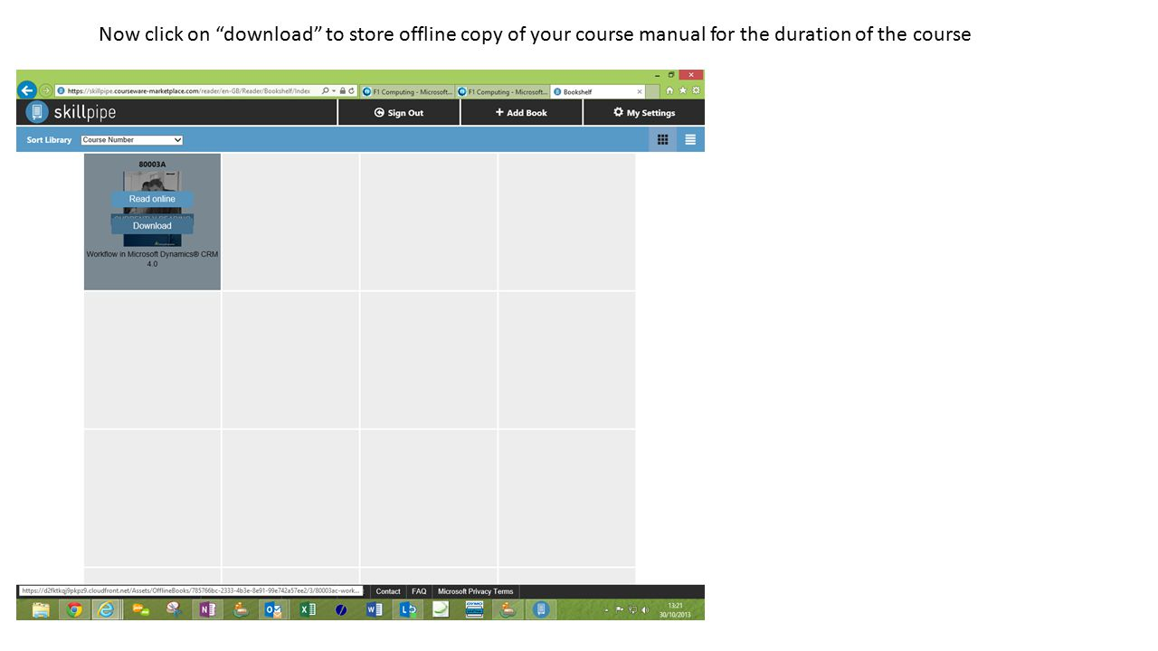 Now click on download to store offline copy of your course manual for the duration of the course