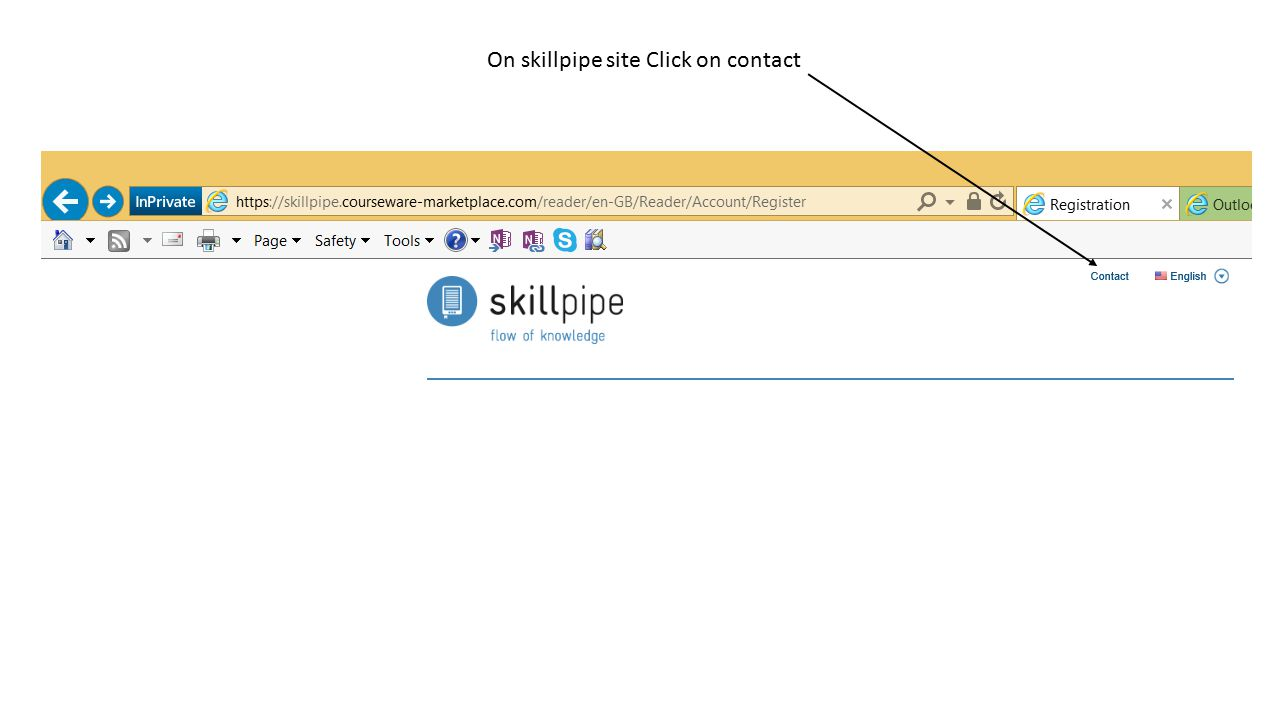 On skillpipe site Click on contact