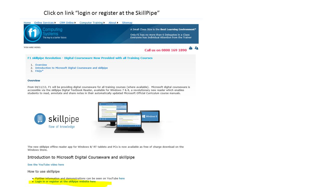 Click on link login or register at the SkillPipe