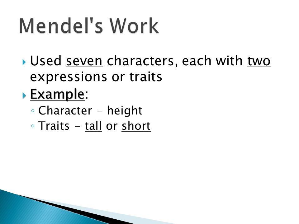Mendel s Work Used seven characters, each with two expressions or traits. Example: Character - height.