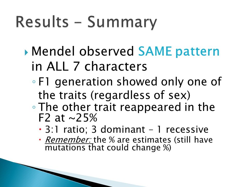 Results - Summary Mendel observed SAME pattern in ALL 7 characters