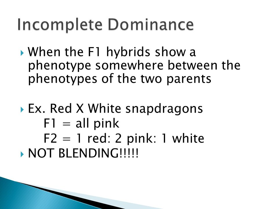 Incomplete Dominance When the F1 hybrids show a phenotype somewhere between the phenotypes of the two parents.