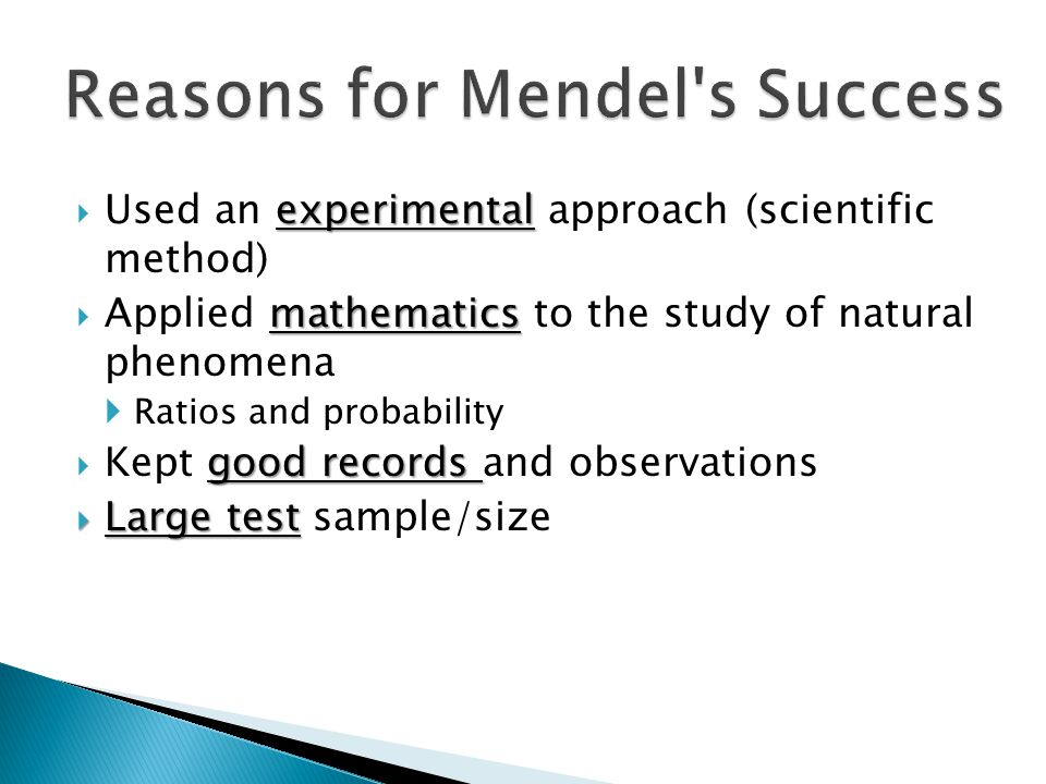 Reasons for Mendel s Success