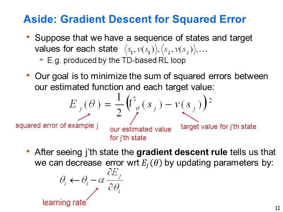 Aside: Gradient Descent for Squared Error