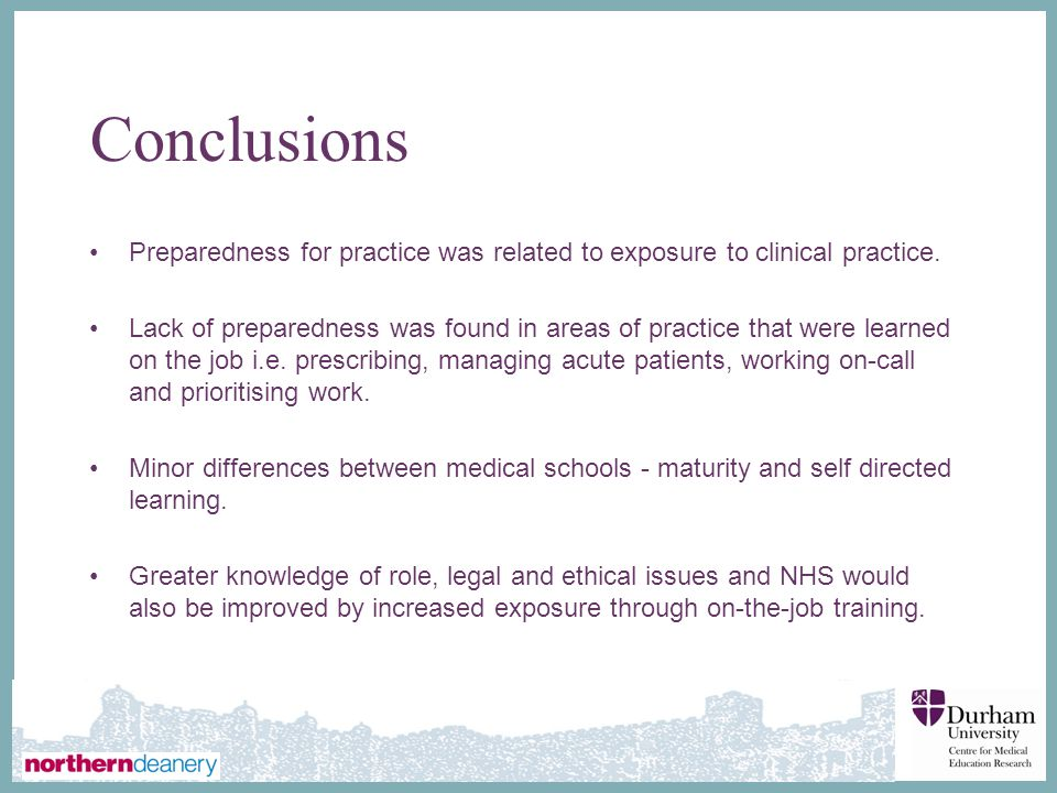 Conclusions Preparedness for practice was related to exposure to clinical practice.