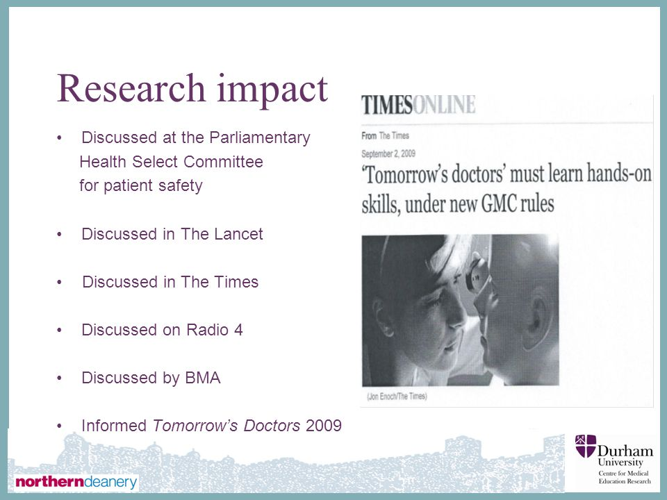 Research impact Discussed at the Parliamentary Health Select Committee
